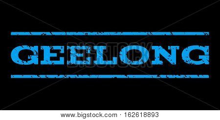 Geelong watermark stamp. Text tag between horizontal parallel lines with grunge design style. Rubber seal stamp with dirty texture. Vector blue color ink imprint on a black background.