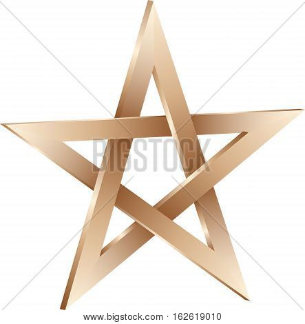 isolated 3D golden pentagram sign - vector illustration