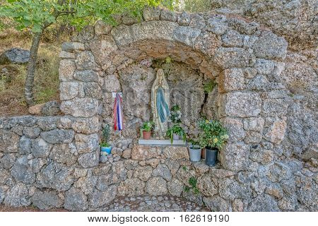 A small chapel of the Virgin Mary in old village in Dalmatia.