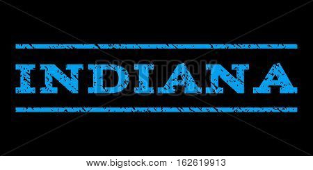 Indiana watermark stamp. Text caption between horizontal parallel lines with grunge design style. Rubber seal stamp with dust texture. Vector blue color ink imprint on a black background.