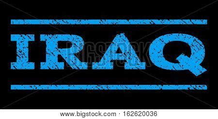 Iraq watermark stamp. Text caption between horizontal parallel lines with grunge design style. Rubber seal stamp with dirty texture. Vector blue color ink imprint on a black background.