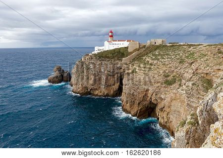 Cabo de São Vicente, Portugal, November 25, 2016: Cabo de São Vicente is the southwestern most point of mainland Europe.
