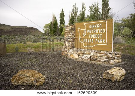 Petrified wood from the site helped make the entrance sign to Ginko Petrified Forest