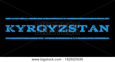 Kyrgyzstan watermark stamp. Text caption between horizontal parallel lines with grunge design style. Rubber seal stamp with unclean texture. Vector blue color ink imprint on a black background.