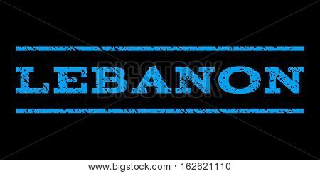 Lebanon watermark stamp. Text tag between horizontal parallel lines with grunge design style. Rubber seal stamp with unclean texture. Vector blue color ink imprint on a black background.