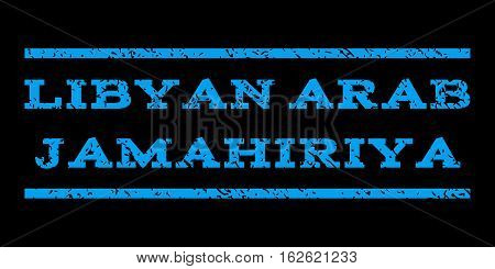 Libyan Arab Jamahiriya watermark stamp. Text tag between horizontal parallel lines with grunge design style. Rubber seal stamp with dirty texture. Vector blue color ink imprint on a black background.