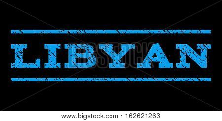 Libyan watermark stamp. Text caption between horizontal parallel lines with grunge design style. Rubber seal stamp with dirty texture. Vector blue color ink imprint on a black background.