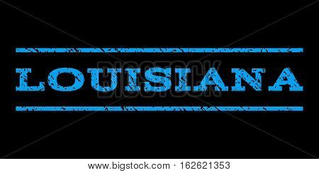 Louisiana watermark stamp. Text tag between horizontal parallel lines with grunge design style. Rubber seal stamp with scratched texture. Vector blue color ink imprint on a black background.