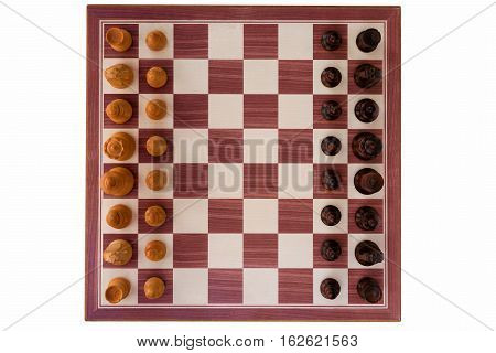 boxwood chessboard with all pieces on white background