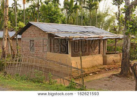 Village Home in the Subtropics in Assam India