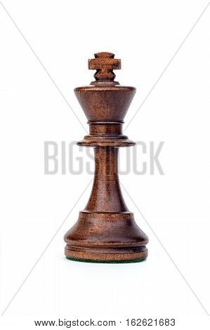 boxwood black king chess piece isolated on white