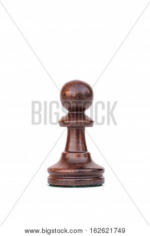 boxwood black pawn chess piece isolated on white
