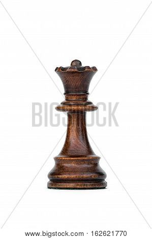 boxwood black queen chess piece isolated on white