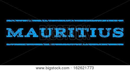 Mauritius watermark stamp. Text tag between horizontal parallel lines with grunge design style. Rubber seal stamp with unclean texture. Vector blue color ink imprint on a black background.