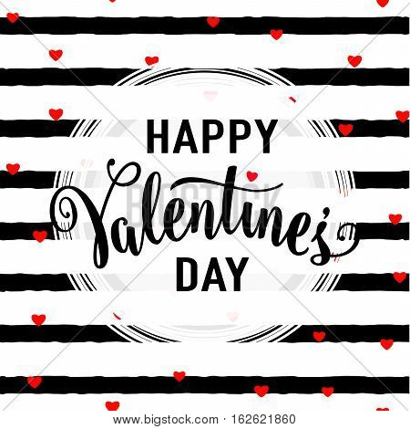 Vector illustration of stylish valentines day greeting card template with lettering typography text sign, hearts, white round shape frame on seamless rough stripes background in Memphis style