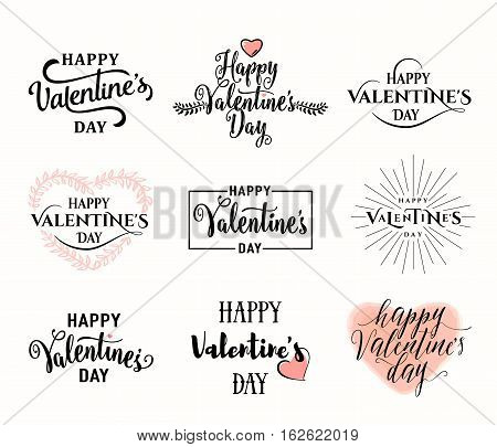 Vector illustration of happy valentines day typography lettering logo set. Hipster emblems, label, text element design with hearts, leaves, burst. Use for banners, greeting cards, gifts, poster