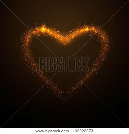 Vector illustration of shine glow gold heart silhouette with tails, like meteor, isolated on dark background