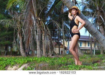 Lady shape pretty natural in Ban Krut Beach at Prachuap Khirikhun Province Thailand