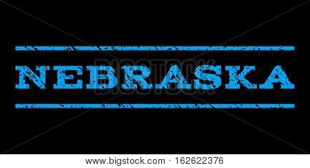 Nebraska watermark stamp. Text tag between horizontal parallel lines with grunge design style. Rubber seal stamp with scratched texture. Vector blue color ink imprint on a black background.