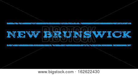 New Brunswick watermark stamp. Text caption between horizontal parallel lines with grunge design style. Rubber seal stamp with scratched texture. Vector blue color ink imprint on a black background.