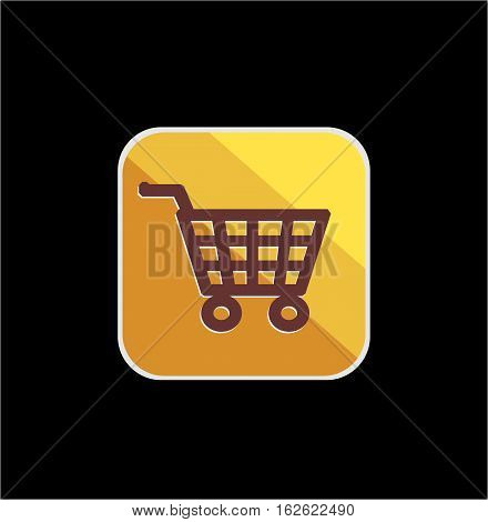 golden cart shop icon with vector and illustration graphic for your icons, sign, symbol, logo, and background