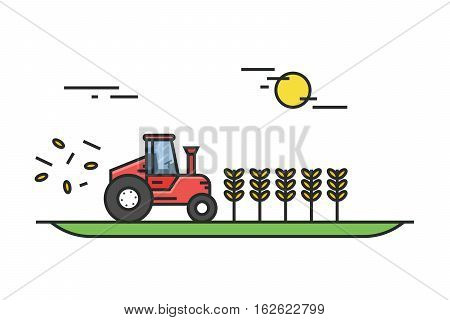 Tractor during the harvest of wheat in field on a sunny day. Farmer equipment. Illustration in flat linear style. Vector, EPS10