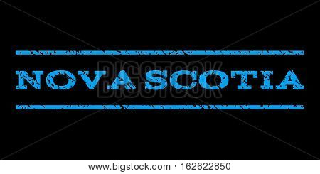 Nova Scotia watermark stamp. Text caption between horizontal parallel lines with grunge design style. Rubber seal stamp with unclean texture. Vector blue color ink imprint on a black background.