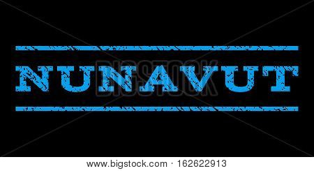 Nunavut watermark stamp. Text tag between horizontal parallel lines with grunge design style. Rubber seal stamp with dirty texture. Vector blue color ink imprint on a black background.
