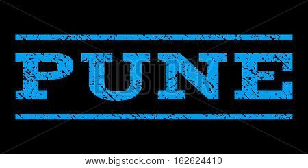 Pune watermark stamp. Text caption between horizontal parallel lines with grunge design style. Rubber seal stamp with scratched texture. Vector blue color ink imprint on a black background.