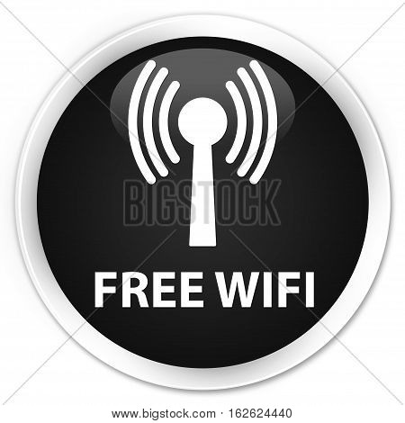 Free Wifi (wlan Network) Premium Black Round Button