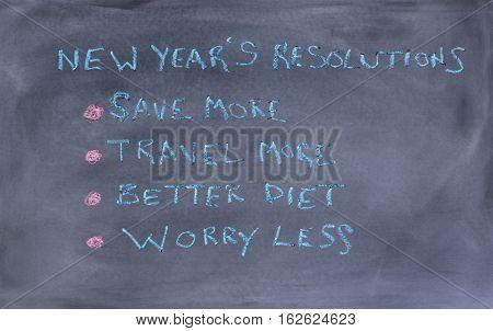 List of New Year resolutions written on erased chalkboard
