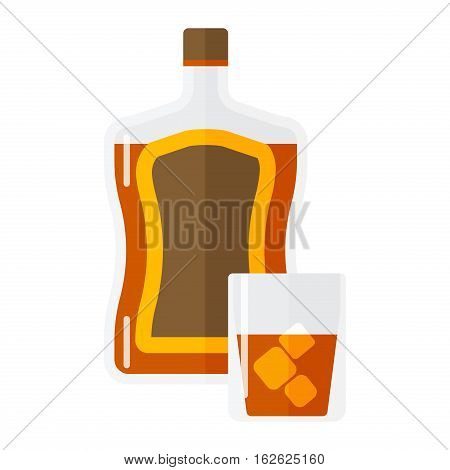 Whiskey bottle and short glass brown drink isolated on white. Beverage refreshment ice tequila juice cocktail. Vector classical liquor strong garnish party cool liquid.