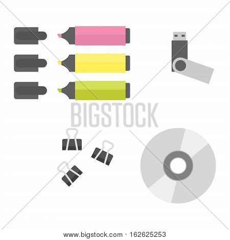 Group of office equipment. Digital business telecommunication workplace. Mobile internet information device. Multimedia technology tool vector illustration.