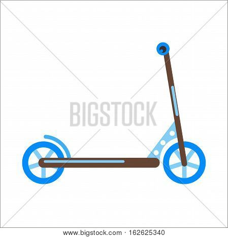 Push kick scooter fun activity transportation vehicle sport ride toy vector illustration. Street cycle fast road transport. Sport and everyday eco friendly race tool silhouette.