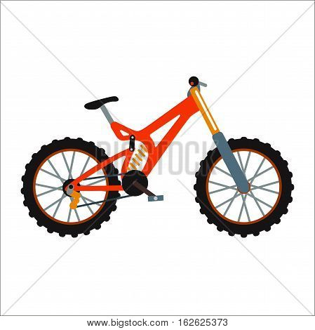 Bicycle flat style isolated on white background vector illustration. Ecology friendly bike summer outdoor adventure. Street cycle fast road transport. Sport and everyday eco friendly race tool.