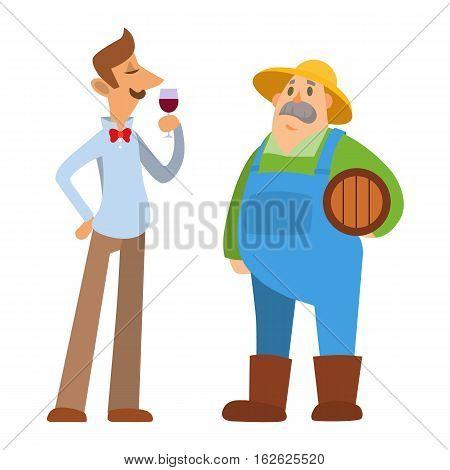 Garden people character. Agriculture farm harvest people organic outdoor work. Happy growth smiling caucasian old farmer standing. Man mustache wearing hat holding barrel in his hand.