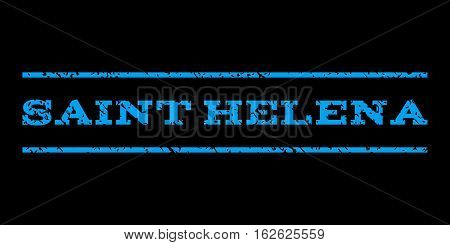 Saint Helena watermark stamp. Text tag between horizontal parallel lines with grunge design style. Rubber seal stamp with dirty texture. Vector blue color ink imprint on a black background.