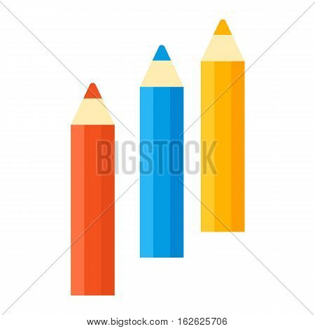 Vector pencil illustration office supply writing bright design. Colored wooden school stationery education equipment and color education drawing art instrument.