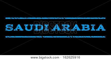 Saudi Arabia watermark stamp. Text caption between horizontal parallel lines with grunge design style. Rubber seal stamp with dust texture. Vector blue color ink imprint on a black background.
