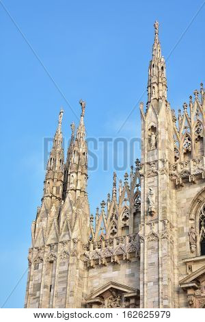Milan Cathedral pinnacles a rare and beautiful sample of gothic architecture in Italy