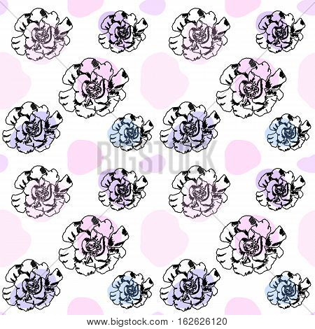 Ink roses in pastel colors seamless pattern or vector background. Hand-drawn rose ornament. Outlined flowers with pink and lily color blots. Transparent summer pattern in soft pastel colors