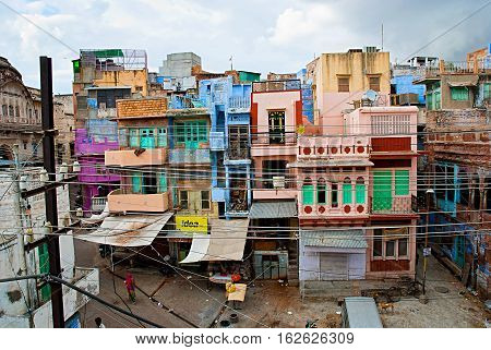 Traditional colorful houses on the street in Jodhpur Rajasthan India.