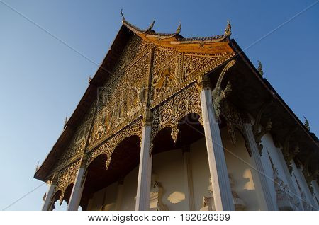 The ordination hall of Wat That Luang the iconic temple of Laos.