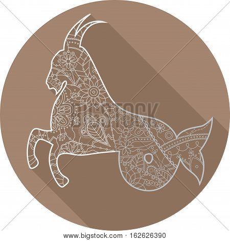 Vector flat icon of zodiac sign Capricorn