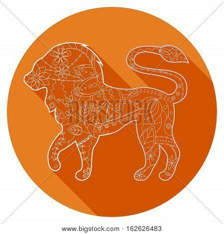 Vector flat icon of zodiac sign Leo