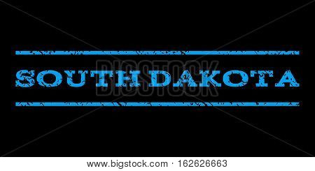South Dakota watermark stamp. Text tag between horizontal parallel lines with grunge design style. Rubber seal stamp with dust texture. Vector blue color ink imprint on a black background.