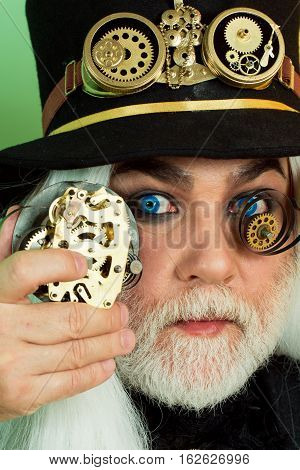 Senior Bearded Man Or Watchmaker