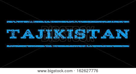 Tajikistan watermark stamp. Text caption between horizontal parallel lines with grunge design style. Rubber seal stamp with scratched texture. Vector blue color ink imprint on a black background.