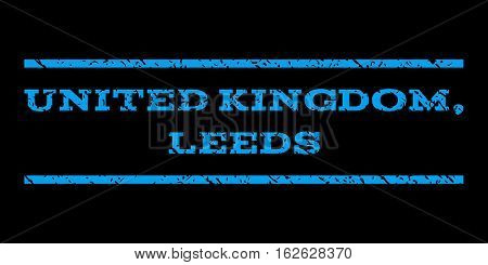 United Kingdom, Leeds watermark stamp. Text tag between horizontal parallel lines with grunge design style. Rubber seal stamp with dust texture. Vector blue color ink imprint on a black background.