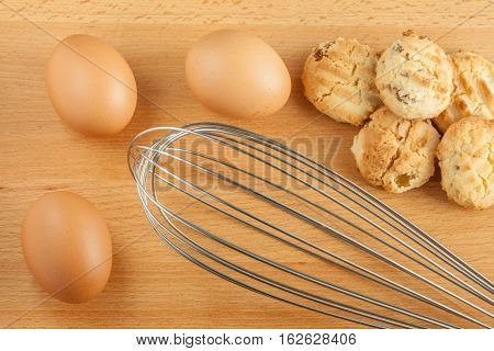 Homemade butter cookies with fresh eggs ingredient.